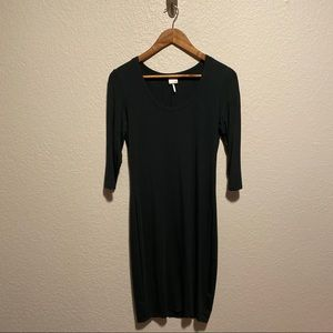 Dark Green Bobi Fitted Dress